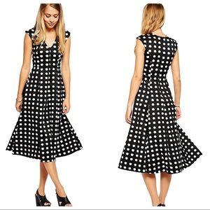 ASOS Check Print Scuba Midi Dress Size 8